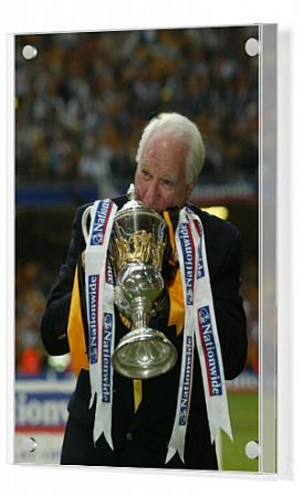 Wolves' chairman Jack Hayward with the trophy after the Nationwide Division One play-off final against Sheffield United at the Millennium Stadium, Cardiff. Wolverhampton Wanderers gained promotion into the Premiership after defeating Sheffield United 3-0