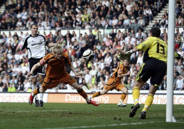 Football - Derby County v Wolverhampton Wanderers Coca-Cola Football League Championship - Pride Park - 13/4/09 Wolves' Andrew Keogh scores their third goal Mandatory Credit: Action Images / Paul Childs Livepic