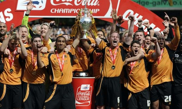 Football - Wolverhampton Wanderers v Doncaster Rovers Coca-Cola Football League Championship - Molineux - 3/5/09 Wolves celebrate promotion with the Championship trophy Mandatory Credit: Action Images / Michael Regan Livepic