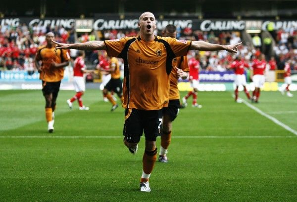 Football - Wolverhampton Wanderers v Nottingham Forest Coca-Cola Football League Championship - Molineux - 08/09 - 30/8/08 Michael Kightly celebrates scoring the fifth goal for Wolverhampton Mandatory Credit: Action Images / Peter Ford