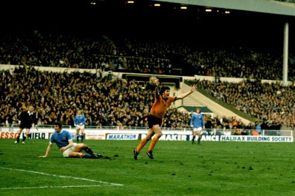 John Richards Wolverhampton Wanderers celebrate his winning goal