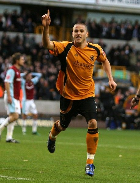 Wolves' Michael Kightly celebrates scoring the first goal during the Coca-Cola Championship match at Molineux, Wolves vs Burnley on 8/11/08