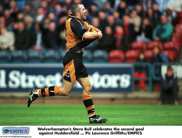 Wolves' Steve Bull celebrates the second goal against Huddersfield