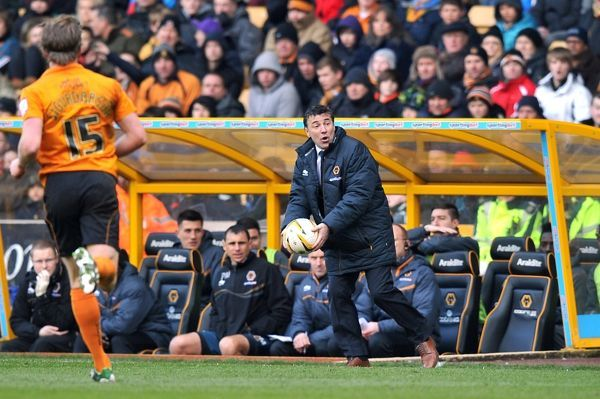 Wolverhampton Wanderers manager Dean Saunders looks to throw the ball back into play