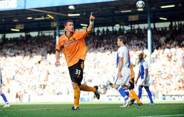 Stefan Maierhofer of Wolverhampton Wanderers celebrates after scoring to make it 1-3