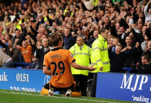 Kevin Doyle of Wolverhampton Wanderers celebrates after scoring to make it 0-1