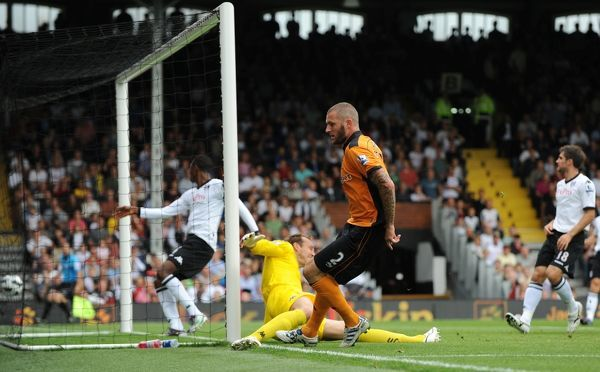Jelle Van Damme of Wolverhampton Wanderers scores a goal to make it 0-1