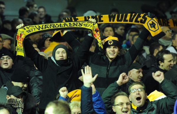 Supporters / fans of Wolverhampton Wanderers celebrate at full time