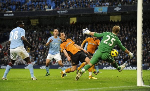 Nenad Milijas of Wolverhampton Wanderers scores a goal to make it 0-1
