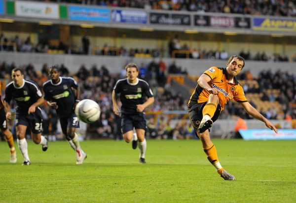 Nenad Milijas of Wolverhampton Wanderers scores a goal to make it 1-0 from a penalty kick
