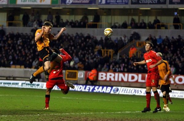 Wolverhampton Wanderers' Sam Vokes scores their third goal of the game during the Coca-Cola Championship match at Molineux, Wolverhampton