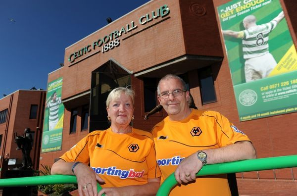 Wolverhampton Wanderers supporters Rosa Jervis and Andy Jervis from Penn in Wolverhampton at Celtic Park the home of Celtic