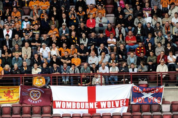 Wolverhampton Wanderers supporters at Tynecastle