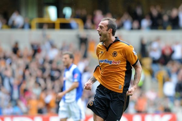 Steven Fletcher of Wolverhampton Wanderers celebrates after scoring a goal to make it 1-0