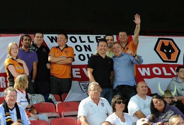 Fans / supporters of Wolverhampton Wanderers enjoy the game
