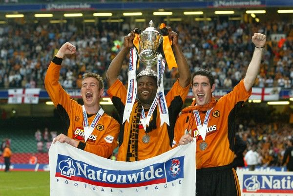 Wolves' goalscorers (from left - right) Kenny Miller, Nathan Blake and Mark Kennedy celebrate with the trophy after the Nationwide Division One play-off final against Sheffield United at the Millennium Stadium, Cardiff