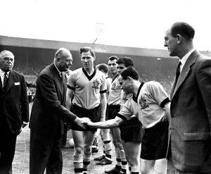 FA Cup Final Victory, Wolves vs Blackburn, team greet Duke of Gloucester